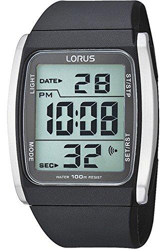 LORUS R2303HX-9 Men's Digital Quartz Date Steel Case Silicone/rubber Strap,100m WR R2303HX9