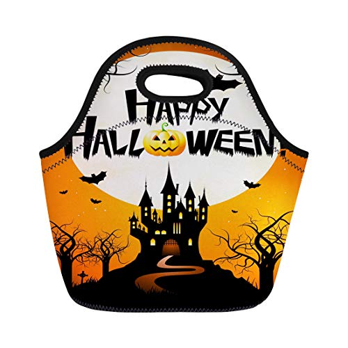 Semtomn Lunch Tote Bag Orange Bat Halloween Happy Branch Castle Cemetery Creepy Event Reusable Neoprene Insulated Thermal Outdoor Picnic Lunchbox for Men Women -