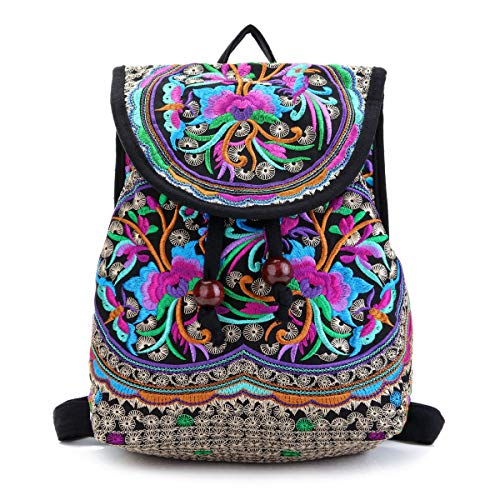 Embroidery Canvas Backpack Purse for Women, Small Drawstring Casual Travel Shoulder Bag Daypack
