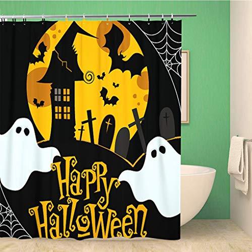 Awowee Bathroom Shower Curtain Ghost Cute Halloween Cobweb House Cartoon Flying Autumn Bat Polyester Fabric 72x78 inches Waterproof Bath Curtain Set with Hooks -