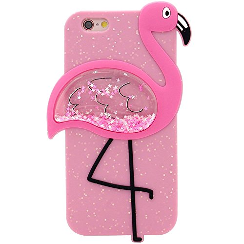 Artbling Case for iPhone 5 5S 5C SE Silicone 3D Cartoon Animal Quicksand Cover,Kids Girls Cool Cute Cases,Kawaii Soft Gel Rubber Unique Character Vivid Glitter Bird Protector for iPhone5 (Flamingo)