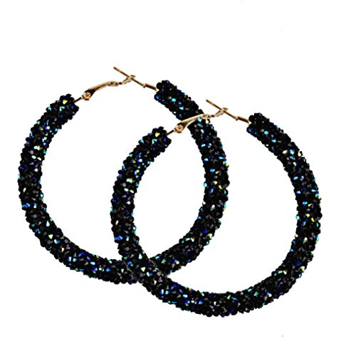 Women Girls Fashion Shining Round Circular Earrings Hoop Earrings Ear Clip Jewelry Gift (Black)