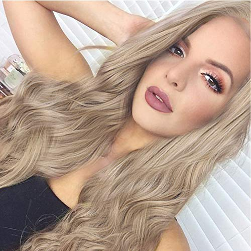 Imstyle Honey Blonde Lace Front Wigs Long Wavy Synthetic Hair Wig for Women Thick Soft Heat Resistant Hair Wig With Natural Hairline Part Freely 24 Inch
