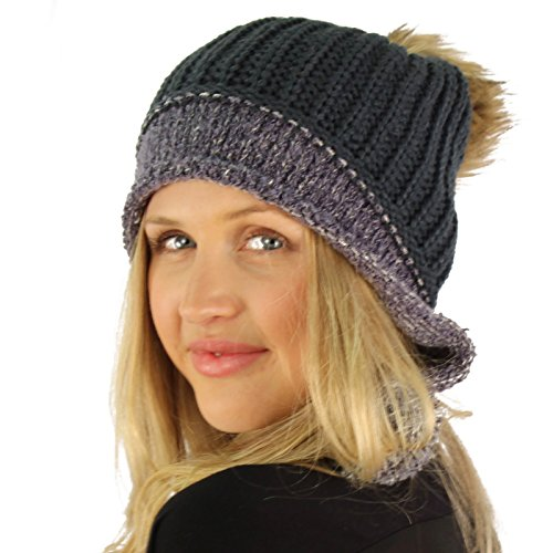 Winter Removable Faux Fur Pom Pom Knit Trooper Trapper Helmet Hat Ski Cap Charcoal