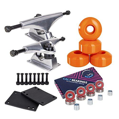 Cal 7 Skateboard Package Combo with 5 Inch / 129 Millimeter Trucks, 52mm 99A Wheels, Complete Set of Bearings and Steel Hardware (Silver Truck + Orange Wheels) (Best Cheap Skateboard Setup)
