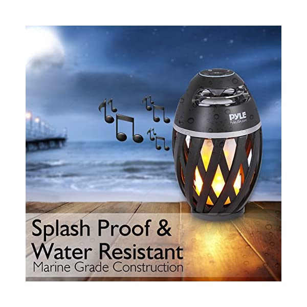 Pyle Portable Bluetooth Speaker with Candle Style LED Lamp
