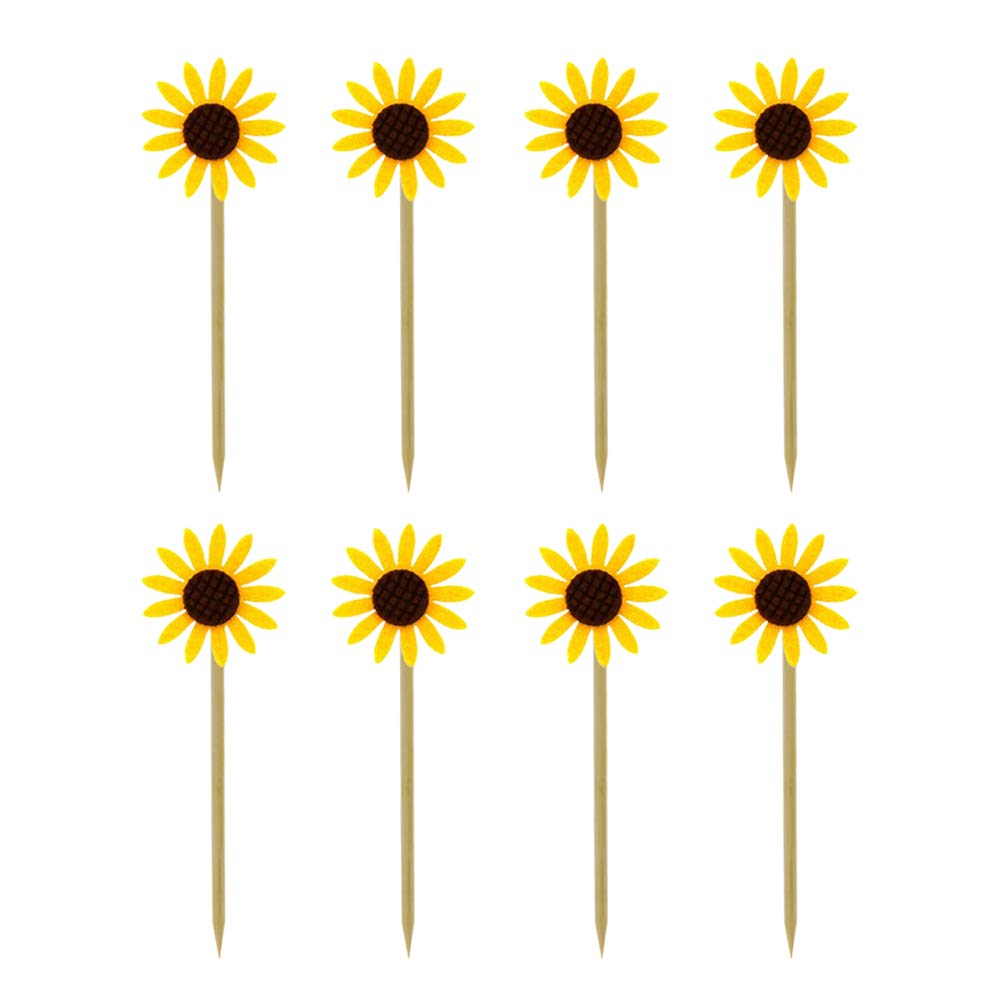 HZOnline Sun Flower Cupcake Toppers Kid's Birthday Decorations Kids' Gathering DIY Home Theme Party Food Fruit Cake Picks for Baby Shower Decor(24PCS)