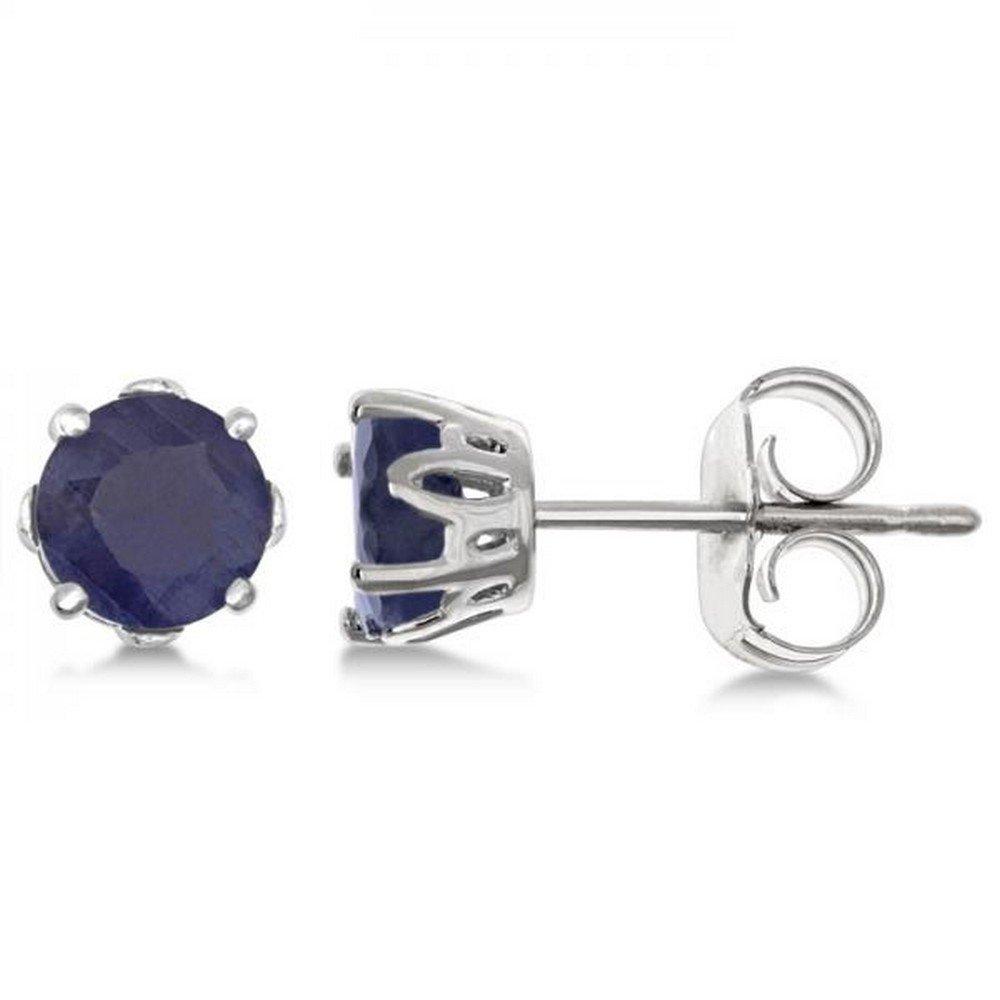 Genuine Blue Sapphire Earrings For Women Sterling Silver Push Backs Prong Set (1.40ct)