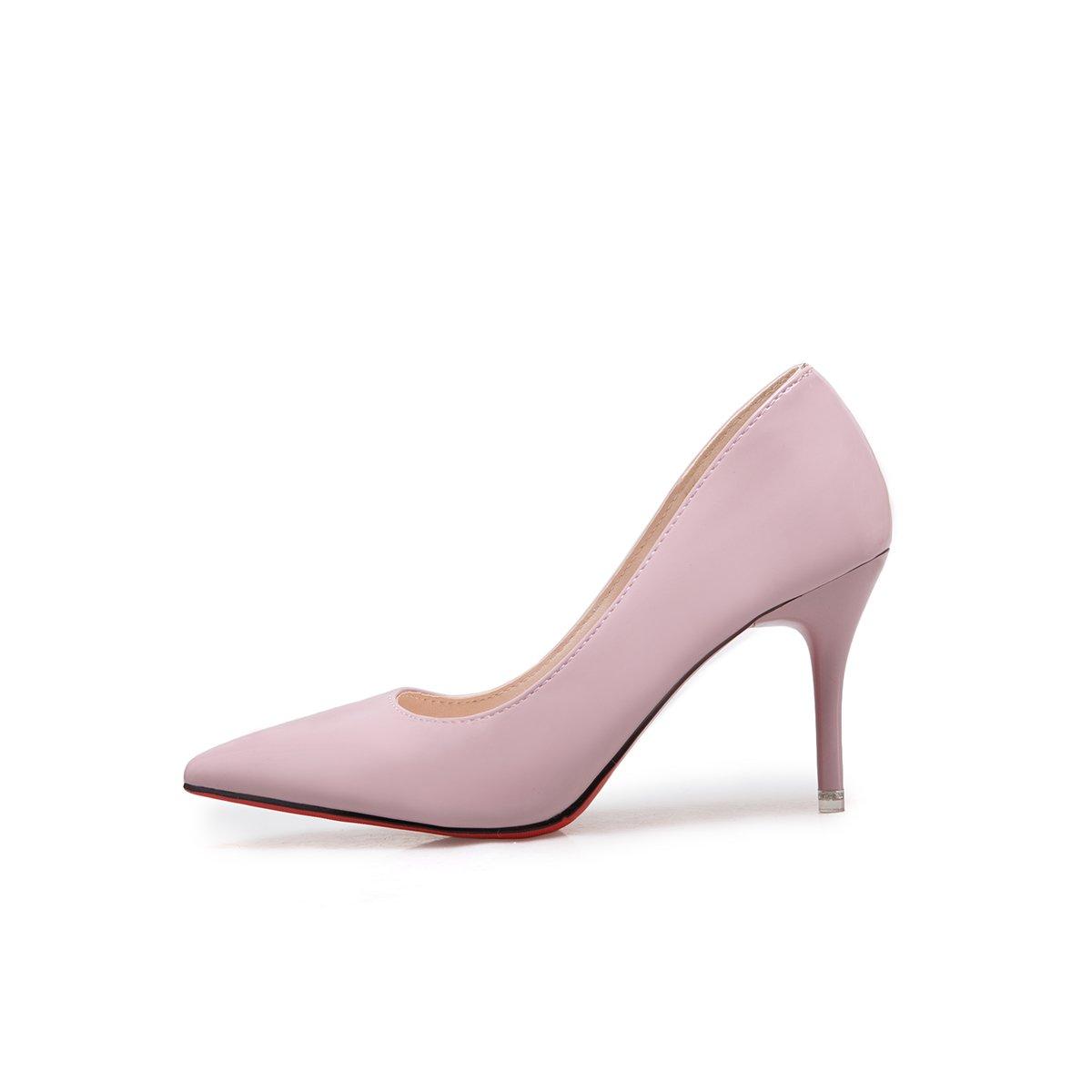 Xue Qiqi Licht - - - bemalte Leder Einzel Schuhe fein mit einem spitzen Schuhe mit hohen Absätzen und vielseitige Karriere Schuhe weiblich 38 nackten Rosa (8 cm) 4dea92
