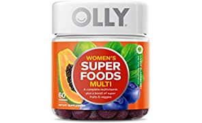 OLLY Womens Super Foods Gummy Multivitamin, 30 Day Supply (60 Gummies), Lively Elderberry, 10 Super Foods, Elderberry, Acai, Tamarind, Chewable Supplement