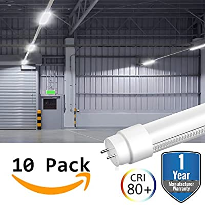 10 Pack LED T8 Tube Light Bulbs 4FT 4 Foot G13 Base 18W 6500K 2000 Lumens (45W Equivalent) Milky Lens Lighting Dual Ended Ballast Bypass Fluorescent Industry Warehouse Shop Garage Replacement …