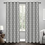 Exclusive Home Domino Heavyweight Jacquard Linen Blackout Window Curtain Panel Pair with Grommet Top 54×108 Steel Blue 2 Piece