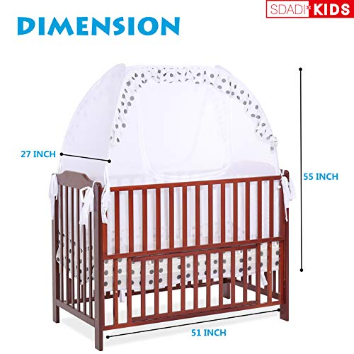 SDADI Baby Crib Safety Tent Pop Up Mosquito Net with Baby Monitor Hang Ribbon,Toddler Bed Canopy Netting Cover |Dots WLCN01D by SDADI (Image #1)