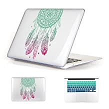 Batianda Fashion Color Crystal Clear Hard Shell Laptop Cover Case for Apple MacBook Air 13 inch [Models: A1369 and A1466] with Gradient Keyboard Cover - Dream Catcher