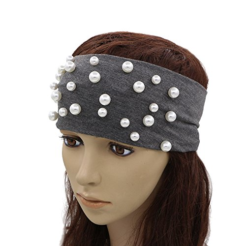 GZHILOVINGL Ladies Headbands With 25-27 Pcs Pearls Women Solid Handmade Headwear