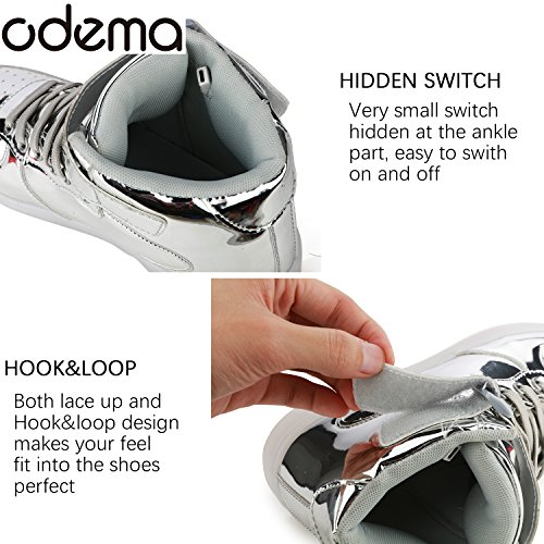 4 Silver Light Top Odema Men 5 For Boys Sneakers Size Girls Shoes LED 13 Unisex Up Shoes Women High Breathable HHx1aSwq