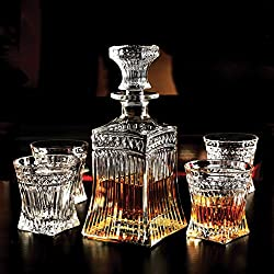 Circleware 10105 Empire Whiskey Glass Decanter Entertainment Set of 5, 1 Liquor Dispenser Beverage Bottle with Square Stopper and 4 Matching Bar Drinking Cup, 547ml Carafe and 8.5 oz Set