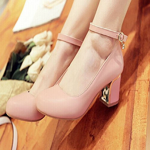 Mee Shoes Sexy High-heel Block-heel PU Leather Mary Jane Shoes Pink dQcKjCqt