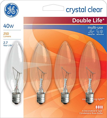 GE 40 Watt Blunt Tip Candelabra Base Light Bulbs Crystal Clear - 1 Package (4 Bulbs Total)