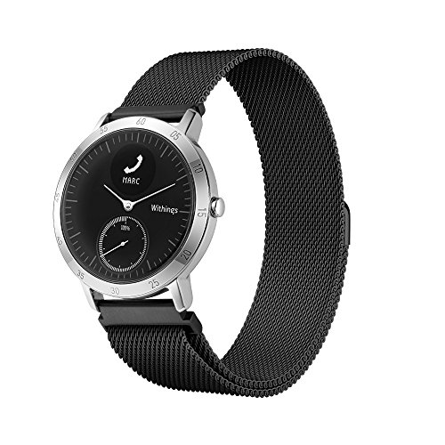 Balerion-Watch Band with Magnetic Lock,Magnetic Closure Clasp Mesh Loop Stainless Steel Watch Band for Withings Steel HR 40mm verison-Mesh Black 40MM