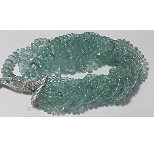 1 Strand Natural Aquamarine Rondelles, Plain Beads, 4.5 to9.5 mm Each - 9 Inch