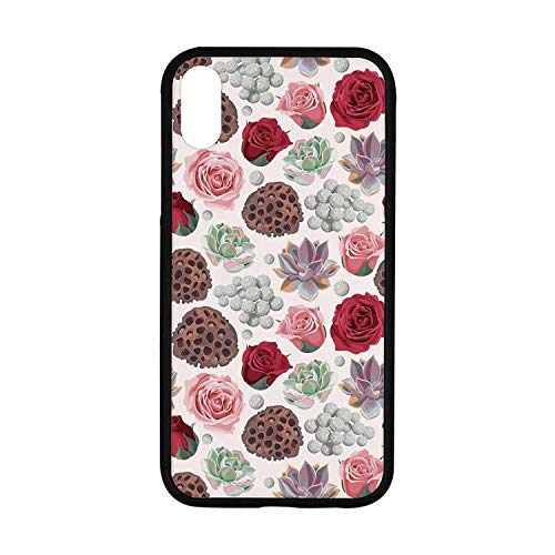 Succulent Rubber Phone Case,Lotus Pot Roses Agave Flourish Pattern Romantic Bridal Wedding Themed Vintage Compatible with iPhone XR