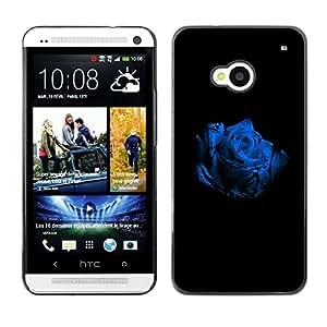 QCASE / HTC One M7 / rosa blanca flor azul flor naturaleza negro / Delgado Negro Plástico caso cubierta Shell Armor Funda Case Cover