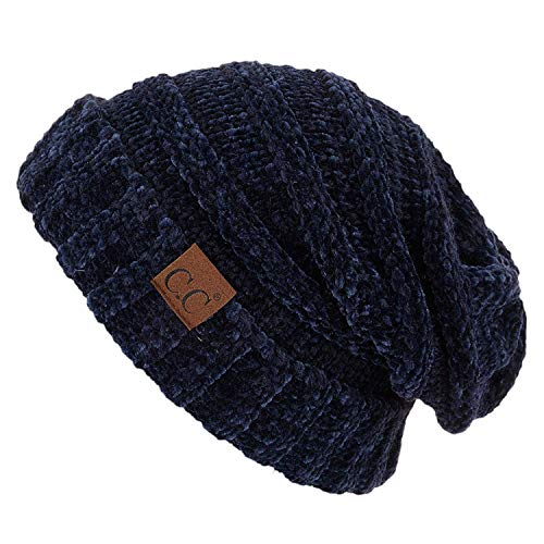 Funky Junque H-6100-85031a Oversized Slouchy Beanie - Chenille Navy (Chenille Beanie Hat)