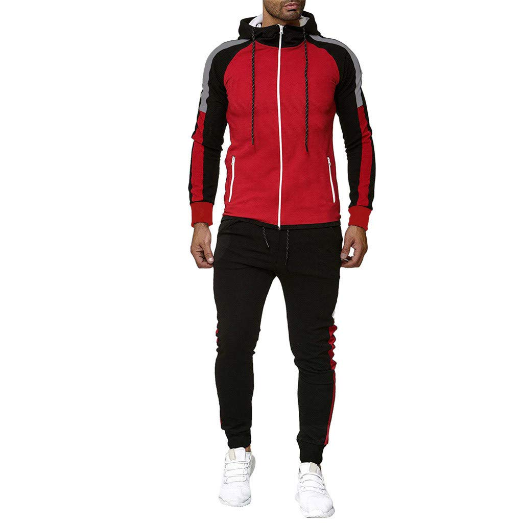 Armfre Two-Piece-Outfit Men's Hooded Athletic Tracksuit Sweatshirt with Zipper Pockets Color Block Casual Full Zip Jogging Sweatsuits Fall Winter Casual Workout Running Activewear by Armfre Two-Piece-Outfit