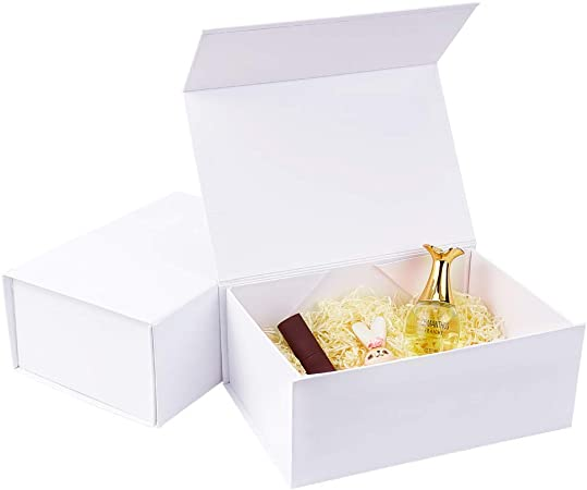 BENECREAT 2 Pack Caja Blanca de Cartón de Regalo 25x17.5x10.5cm Caja de Papel con Tapa Magnética Envase Superior de Cosmético, Bellezas para Boda, Fiesta, Cumpleaños: Amazon.es: Hogar