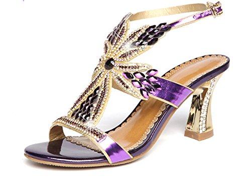MNII Womens Slip On Diamond Bridal Stiletto Low Mid Heels Sandals Wedding- Stylish and beautiful Purple YYqxrhl