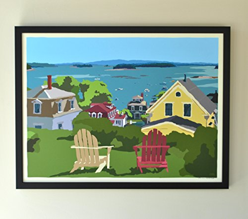 (Stonington Harbor Framed Print (18x24 Giclee Poster, Wall Decor Art) )