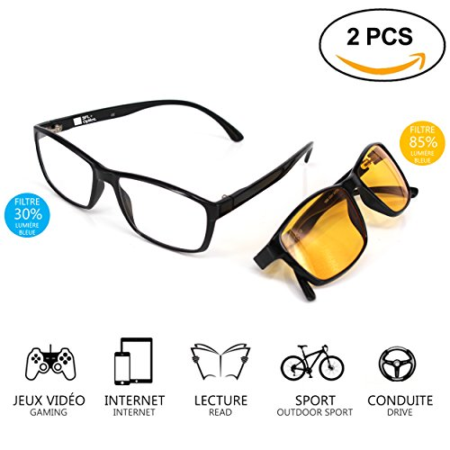SFL + Optics. Lot de 2 Lunette Anti Lumiere Bleue Protection 85% et 92% Lunettes Jeux Vidéo Lunettes Gaming PC Mobile TV…