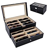 Autoark Leather 12 Piece Eyeglasses Storage and Sunglass Glasses Display Drawer Lockable Case Organizer,Black,AW-023