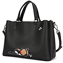 Malirona Leather Satchel Shoulder Bag Womens Top Handle Handbag Cat Tote Purse