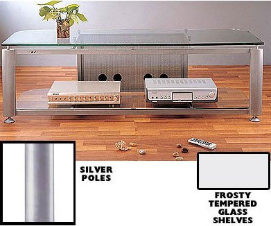 VTI HGR Series Plasma/LCD TV Stand-Silver Pole/Frosted Glass - Silver Pole/Frosted Glass