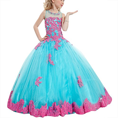 Girl's Pink Applique Pageant Ball Gown Wedding Flower Girls Dress Floor Length Baby -