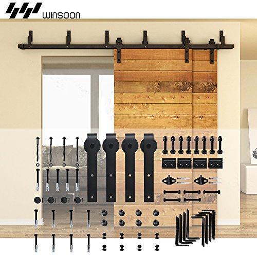 Winsoon Metal Sliding Bypass Barn Door Hardware Kit System Bending Style Design Wall Mount Bracket Fit Double Wooden Doors (12FT /144