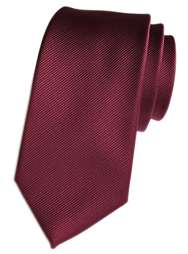 Elfeves Men Striped Wine Red Silk Tie Woven Necktie Creative Design Gift for ()