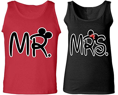 Mr. & Mrs - Matching Couple Love Tank Tops - His and Her (His Outfit)