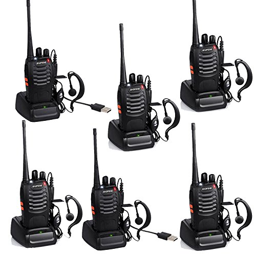 Baofeng BF-888S USB Charger Rechargeable Walkie Talkies Long Distance Walkie Talkie Long Range 2 Way Radios Frequency UHF 400-470MHz with Earpiece and Mic Set 6 Pack - Earpiece Set