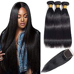 "Brazilian Straight Hair Bundles with Closure(14"" 16"" 18"" with 12"") Remy Human Hair Bundles With Closure 9A Mink Brazilian Hair Bundles with Closure Free Part"