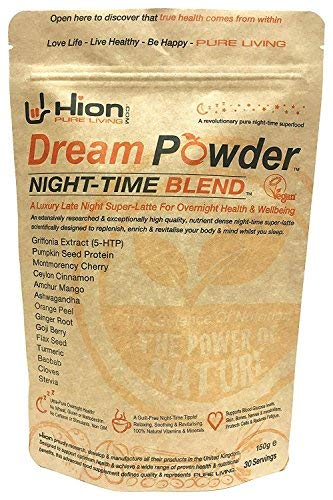 Hion Dream Powder – The Worlds First Pure Night-TIME SUPERFOOD (5HTP, Ashwagandha, Montmorency Cherry, Turmeric, Goji Berry, Ginger Root & More!) For Sale