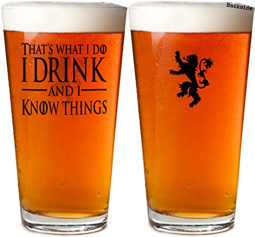 - Daft & Co. Game of I Drink & I Know Things Thrones Laser Engraved Beer Pint Glass