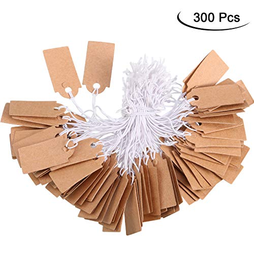 Marking Tags Price Tags Writable Blank Price Labels Display Tags with Elastic Hanging String, Kraft (300 Packs, 1.02 x 0.47 Inch)