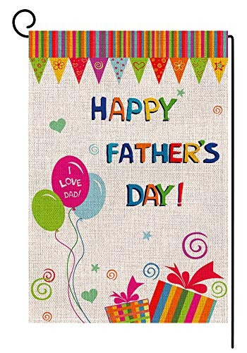 Fathers Day Flag - BLKWHT Happy Father's Day Garden Flag Vertical Double Sided 12.5 x 18 Inch Yard Decor