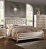 1PerfectChoice VOEVILLE MATTE GOLD PU ANTIQUE WHITE KING PANEL BED