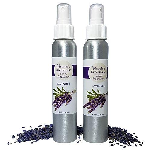 Victoria's Lavender Room Spray All-Natural Home Fragrance 100% Pure Lavender Essential Oil Air Freshener Odor Eliminator (2 Pk Lavender)
