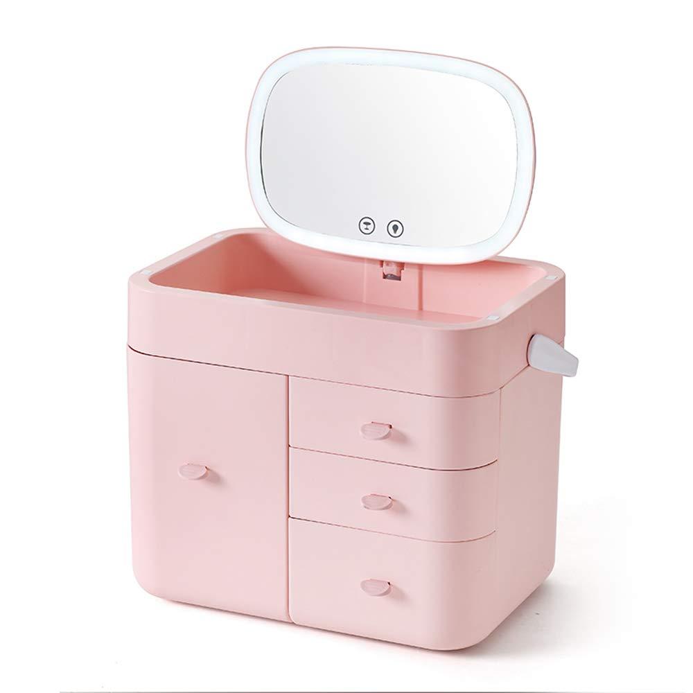 LiChenYao LEDミラー化粧品ドレッシングテーブル収納ボックスデスクトップ仕上げボックスドレッシングテーブルスキンケア製品ラック (色 : ピンク) B07MF15GLB ピンク