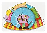 Lunarable Quirky Pet Mat for Food and Water, Cute Dog Sleeping on Colorful Pillows Funny Domestic Pet Animal Caricature Design, Rectangle Non-Slip Rubber Mat for Dogs and Cats, Multicolor